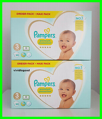 LOT DE 198 (2x99) COUCHES PAMPERS PREMIUM PROTECTION TAILLE 3 (6-10 kg)