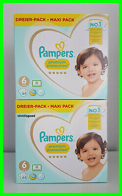 LOT DE 128 (2x64) COUCHES PAMPERS PREMIUM PROTECTION TAILLE 6 (13+ kg)