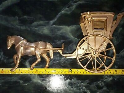 """Vintage Large solid Brass  Horse And Carriage approx 14.5"""" (37cms) long"""