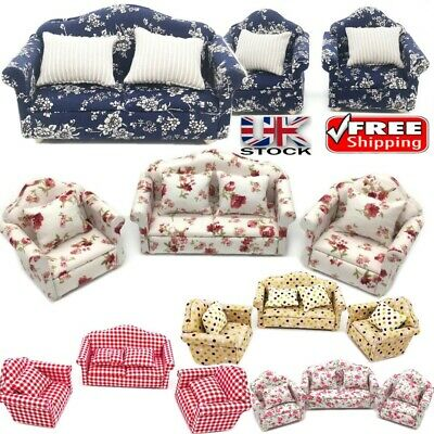 1/12 Scale Dolls House Furniture Living Room Sofa Set Armchairs Flower Cushions