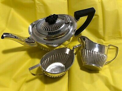 3 Piece Sterling Silver Bachelor Tea Set - John Millward Banks - Chester - 1905
