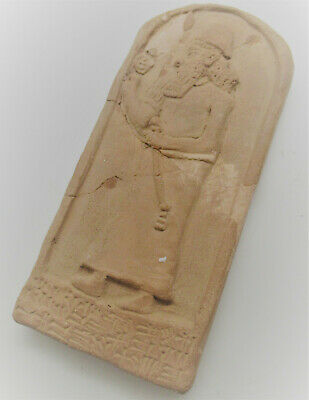 Rare Ancient Near Eastern Clay Tablet Early Form Of Writing & Worshipper 30Cm++