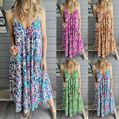 Women Summer Beach Strappy V Neck Maxi Dress Ladies Beach Boho Floral Sundress