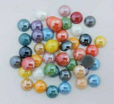 50pc Pearl Acrylic Cabochons 9-10mm 11-12mm 13mm Mixed Colours Craft Supply C101