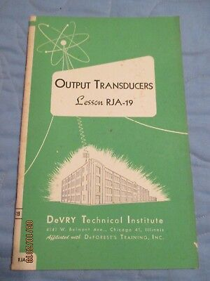 DeVry Technical Institute Lesson notebook RJA-19 Output Transducers Tube Amps