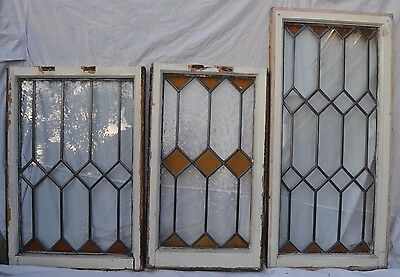 3 leaded light stained glass window sashes. R607.