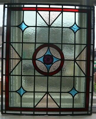 750 x 896mm. Leaded light stained glass window panel. R826h. DELIVERY OPTION