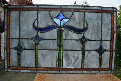 Damaged leaded light stained glass alabaster window panel. S826. DELIVERY OPTION