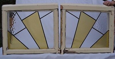 2 art deco leaded light stained glass windows. R638d.