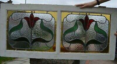 Double leaded light stained glass window sash. R908b. WORLDWIDE DELIVERY