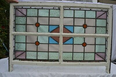 British leaded light stained glass window sash. R820g. WORLDWIDE DELIVERY