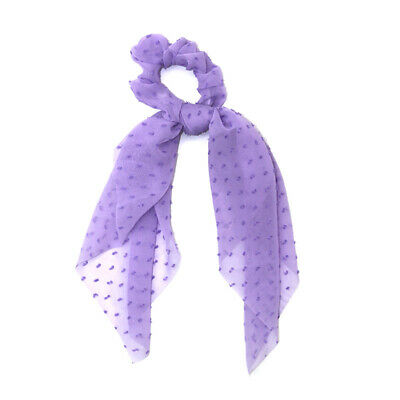 Women Chiffon Ribbon Elastic Bow Solid Hair Band Ties Rope Scrunchie Scraf Ties