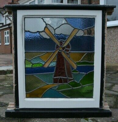 Scenic stained glass leaded light window windmill. R889c.