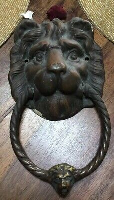 Vintage Reclaimed Large Brass Lion Head Door Knocker.