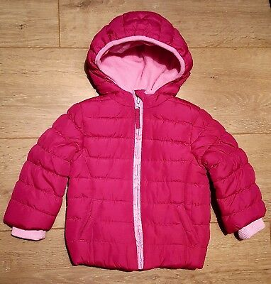 Mothercare Girls Pink Padded Coat Age 12-18 Months