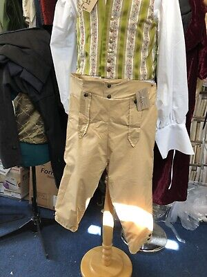 Regency Style Gentleman's Breeches In Tan Silk/cotton Mix