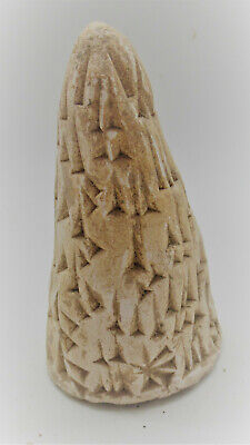 Circa 3000Bce Ancient Near Eastern Clay Cone With Early Form Of Writing