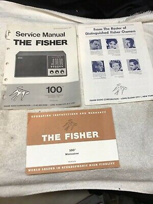 The Fisher 100 FM-Radio Microciever Rare Factory Service Manual & Instructions