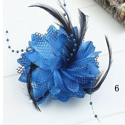 1pc Feather Flower Bead Corsage Hair Clips Fascinator Bridal Hairband Brooch