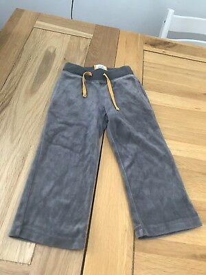 Mini Boden Girls Velour Grey Joggers Age 3 Yrs