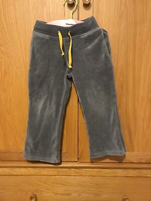 Mini Boden Velour Grey Joggers Girls Comfy Beach 4 Yrs