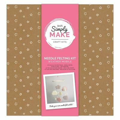 Docraft Simply Make Craft Kit Needle Felting Weather Mobile Pink