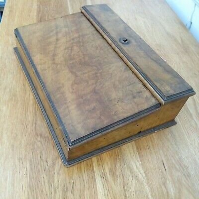 Antique solid walnut writing slope box