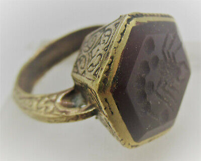 Superb Late Medieval Islamic Ottoman Gold Gilded Seal Ring Carnelian Intaglio