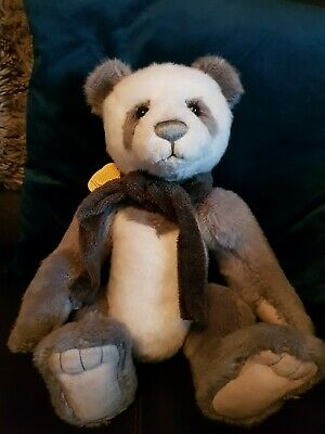 Charlie Bears Iggy  Jointed Teddy Bear - Gray and white