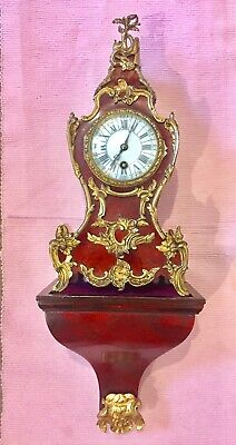 Antique Red Shell Boulle Clock On Wall Bracket C1890