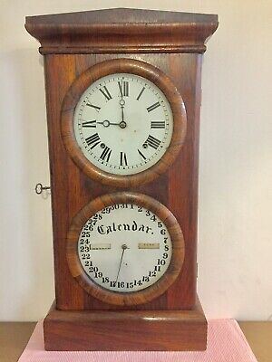 Antique Unusual Seth Thomas Date Calendar Wall Or Mantle Clock C1890