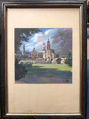 Old Antique Art Work Castle With Garden UNKNOWN Signature! Beautiful