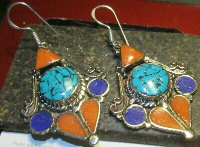 "Natural Turquoise Coral & Lapis Handmade Tibetan/Nepal 2 1/2"" Silver Earrings"