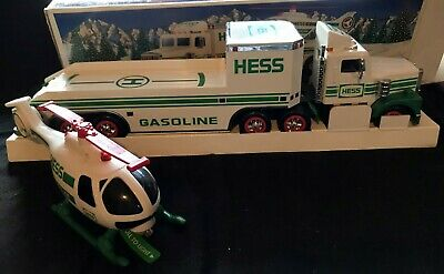 1995 Hess Truck - Toy Truck & Helicopter - Lights - Battery Card