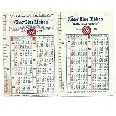 """Pair of RARE VINTAGE """"1948 &1949 Pabst Beer Calendar Cards"""" SINGLE Playing Cards"""