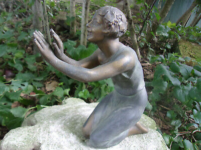 Fabulous Antique French Zinc Kneeling Lady Garden Finial Stamped France Patina