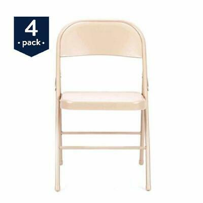 Steel Chair Set Of 4 Folding Chairs Armless Metal Heavy Duty Antique Linen New