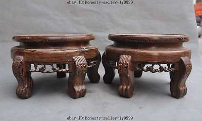 old Chinese Chicken wing wood Pure Hand-Carved Bonsai Potted Pedestal Bases Pair