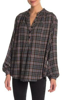 FREE PEOPLE Onyx NORTHERN BOUND Flannel PLAID Oversized BLOUSE Shirt TOP XL NWT
