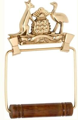 Rare Vintage Heritage Australian Coat of Arms Brass Wooden Toilet Roll Holder
