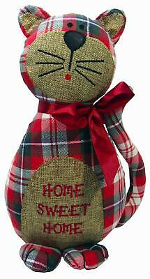 Cat Door Stop Stay Home Sweet Home Pussy Kitty Hessian Tartan Fabric 29 cm