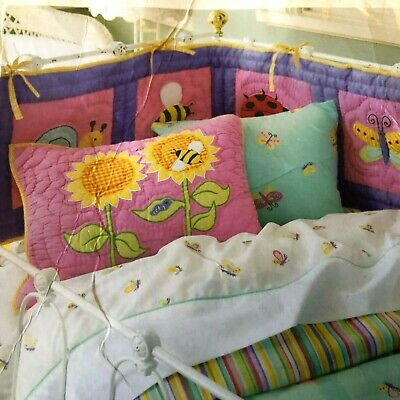 Butterfly Garden Cot Bumper Pink & Purple  By Freckles, Free Postage.