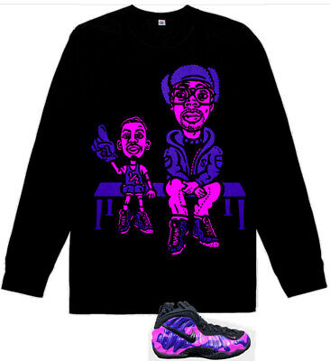 Long Sleeve Pink Lil Penny Spike courtside shirt for Air Foamposite Purple Camo