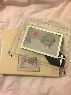"""Russ Baby Glass Photo Frame Silver Lettering, Photo Outline And Cross 4""""x 6"""""""