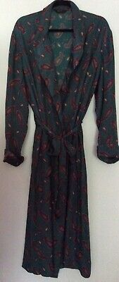 """vintage 50s 60s green & red paisley Celanese belted dressing gown robe L 44"""""""