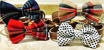 Dog Collar Leather Strap With Tartan Bow Styles Adjustable Strap Quick Release