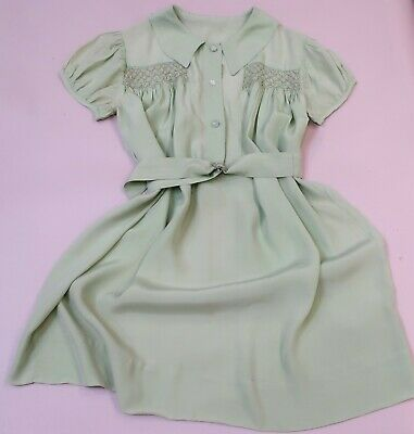 VINTAGE EMBROIDERED PALE GREEN GIRL'S SILK DRESS c.1940s