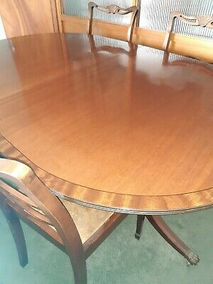 Antique Victorian style solid mahogany extending dining table 4 seater to 6