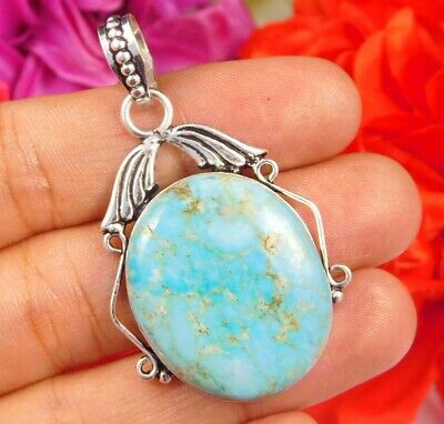 Dashing Turquoise .925 Silver Plated Handmade Pendant Jewelry JC2472