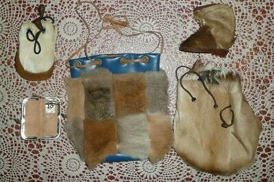 5 x Fur Items Kangaroo and assorted Bags and Key Case Vintage